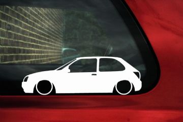 2x LOW Ford Mk5 Fiesta Zetec S ,Lowered outline stickers / silhouette Decals